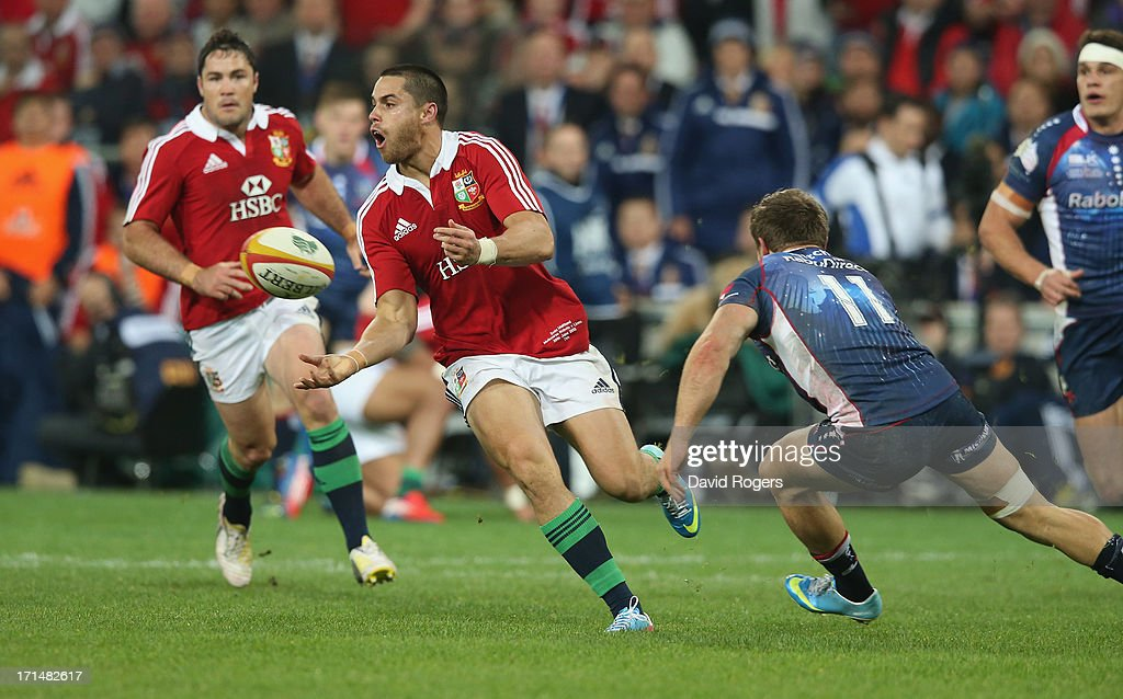 <a gi-track='captionPersonalityLinkClicked' href=/galleries/search?phrase=Sean+Maitland&family=editorial&specificpeople=4444184 ng-click='$event.stopPropagation()'>Sean Maitland</a> of the Lions passes the ball during the International Tour Match between the Melbourne Rebels and the British & Irish Lions at AAMI Park on June 25, 2013 in Melbourne, Australia.