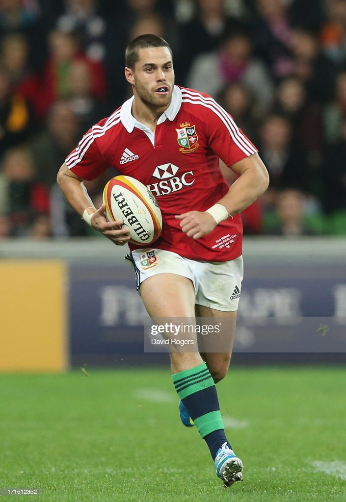 Sean Maitland of the Lions runs with the ball during the International Tour Match between the Melbourne Rebels and the British Irish Lions at AAMI...