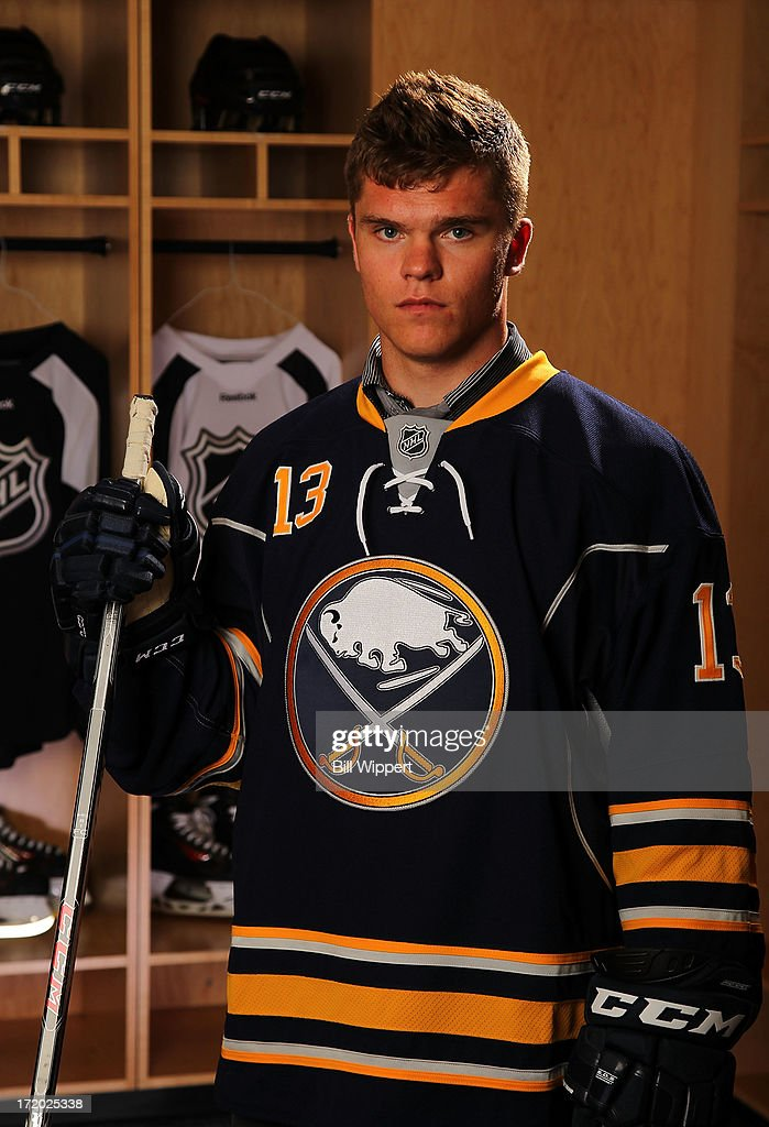 Sean Malone 159th pick by the Buffalo Sabres poses for a portrait during the 2013 NHL Draft at Prudential Center on June 30 2013 in Newark New Jersey