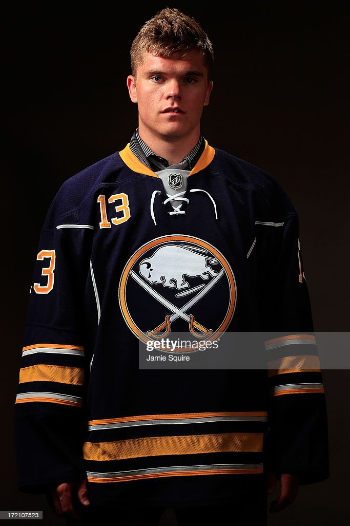 Sean Malone, 159th pick by the Buffalo Sabres, poses for a portrait during the 2013 NHL Draft at the Prudential Center on June 30, 2013 in Newark, New Jersey.