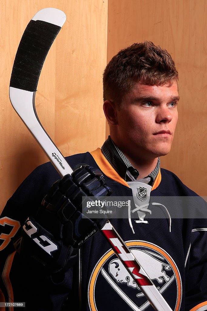 Sean Malone 159th pick by the Buffalo Sabres poses for a portrait during the 2013 NHL Draft at the Prudential Center on June 30 2013 in Newark New...