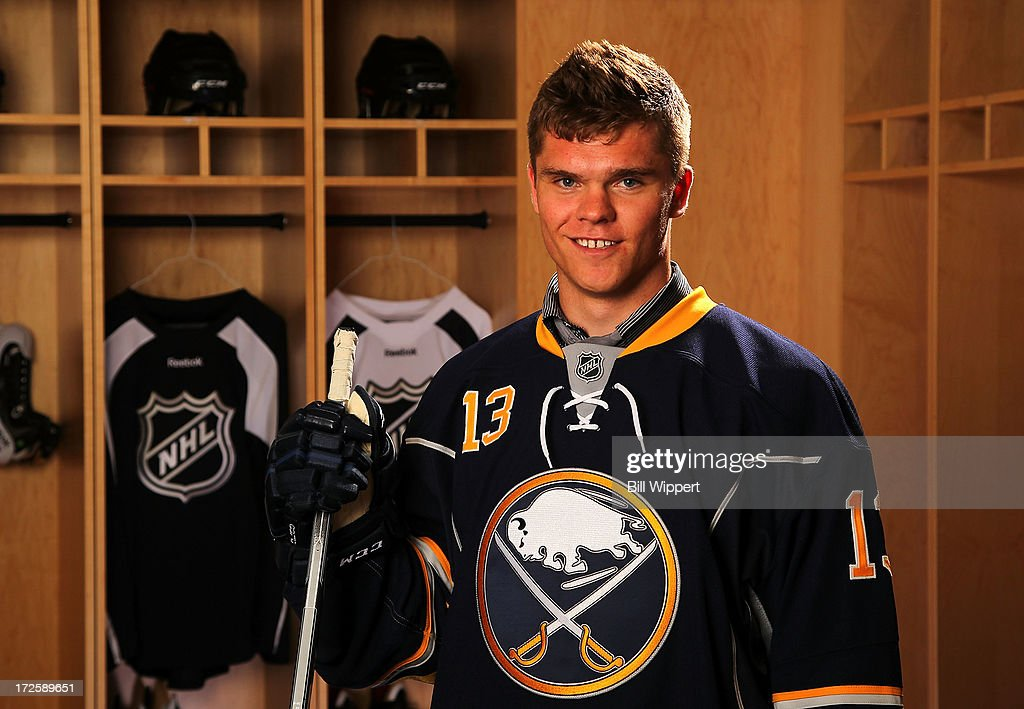 Sean Malone 159th pick overall by the Buffalo Sabres poses for a portrait during the 2013 NHL Draft at Prudential Center on June 30 2013 in Newark...