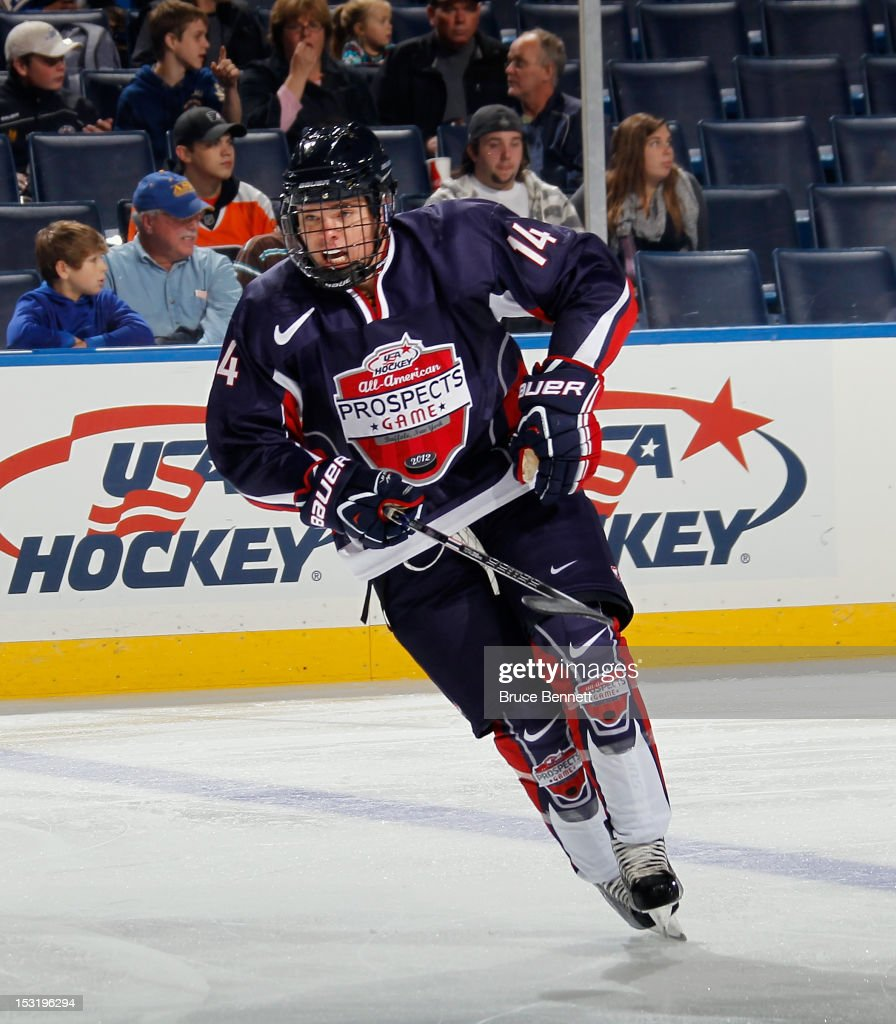 Sean Malone of Team Housley skates against Team McClanahan at the USA Hockey AllAmerican Prospects Game at the First Niagara Center on September 29...