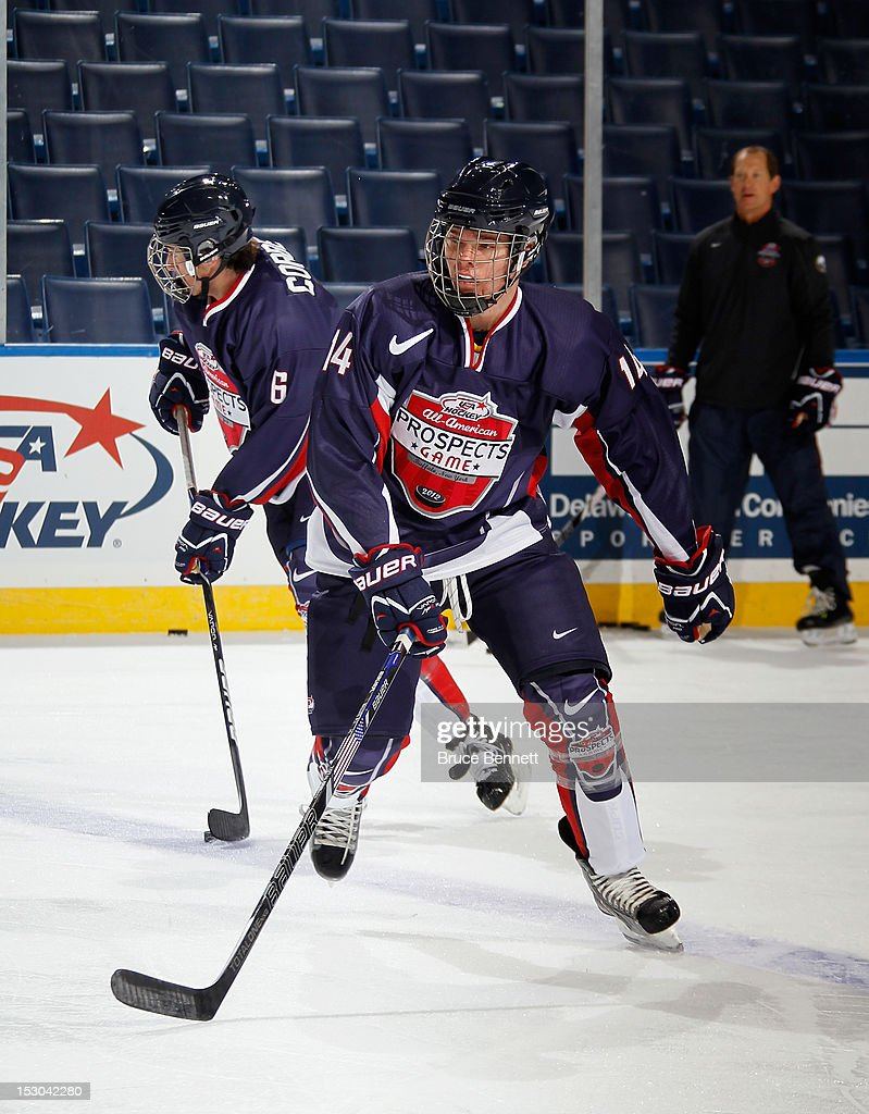 Sean Malone of Team Housley takes part in the morning skate prior to the USA Hockey AllAmerican Prospects Game at the First Niagara Center on...