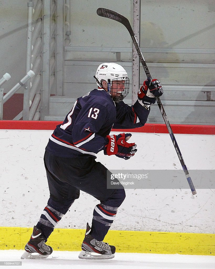 Sean Malone of the USA celebrates his first period goal against of Sweden during the U18 Four Nations Cup on November 9 2012 at the Ann Arbor Ice...