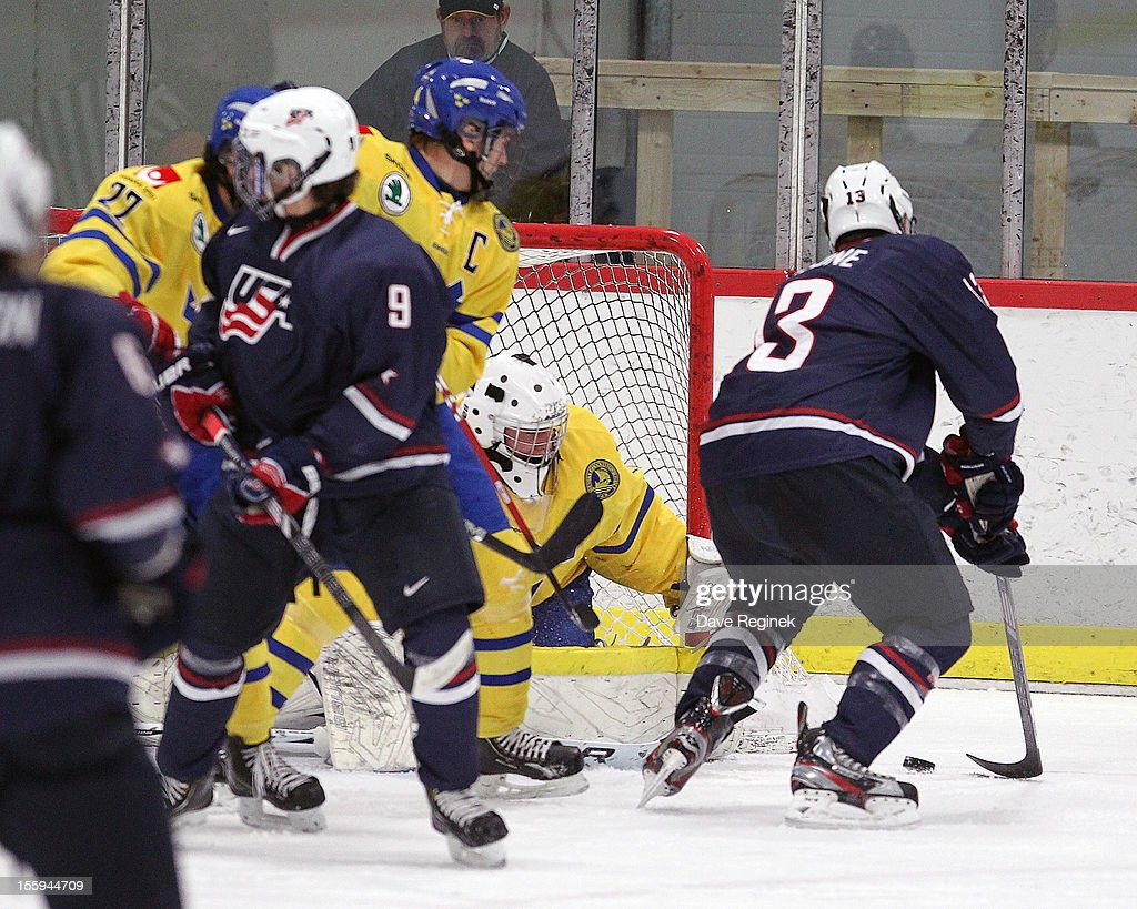 Sean Malone of the USA scores a first period goal against Ebbe Sionas of Sweden during the U18 Four Nations Cup on November 9 2012 at the Ann Arbor...