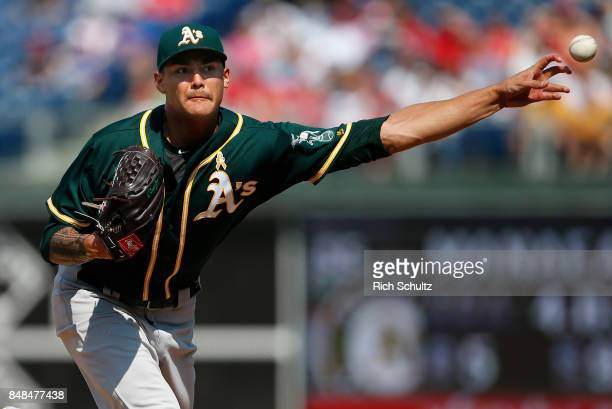 Sean Manaea of the Oakland Athletics delivers a pitch against the Philadelphia Phillies during the first inning of a game at Citizens Bank Park on...