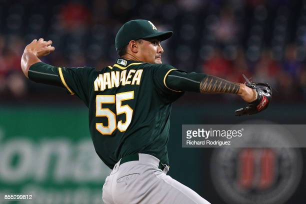 Sean Manaea of the Oakland Athletics delivers a pitch against the Texas Rangers in the first inning of a baseball game at Globe Life Park in...
