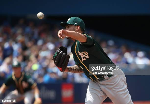 Sean Manaea of the Oakland Athletics delivers a pitch in the fifth inning during MLB game action against the Toronto Blue Jays at Rogers Centre on...