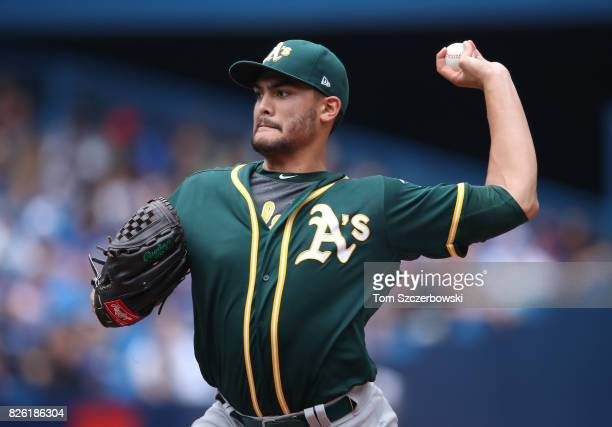 Sean Manaea of the Oakland Athletics delivers a pitch in the first inning during MLB game action against the Toronto Blue Jays at Rogers Centre on...