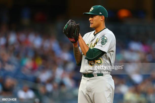 Sean Manaea of the Oakland Athletics in action against the New York Yankees at Yankee Stadium on May 26 2017 in the Bronx borough of New York City...