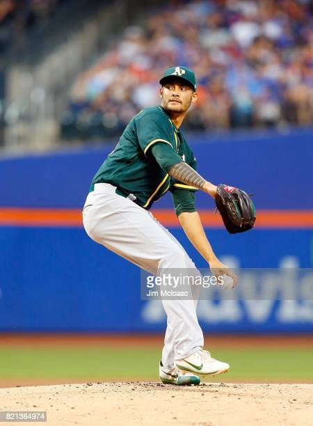 Sean Manaea of the Oakland Athletics in action against the New York Mets at Citi Field on July 22 2017 in the Flushing neighborhood of the Queens...
