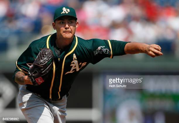 Sean Manaea of the Oakland Athletics in action against the Philadelphia Phillies during a game at Citizens Bank Park on September 17 2017 in...