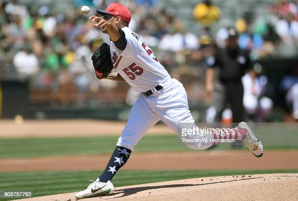 Sean Manaea of the Oakland Athletics pitches against the Atlanta Braves in the top of the first inning at Oakland Alameda Coliseum on July 2 2017 in...