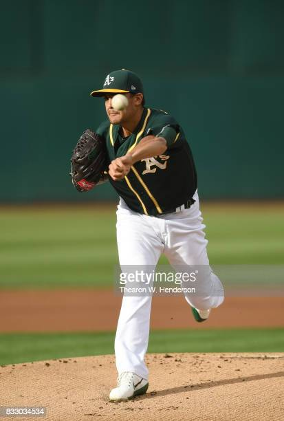 Sean Manaea of the Oakland Athletics pitches against the Baltimore Orioles in the top of the first inning at Oakland Alameda Coliseum on August 12...