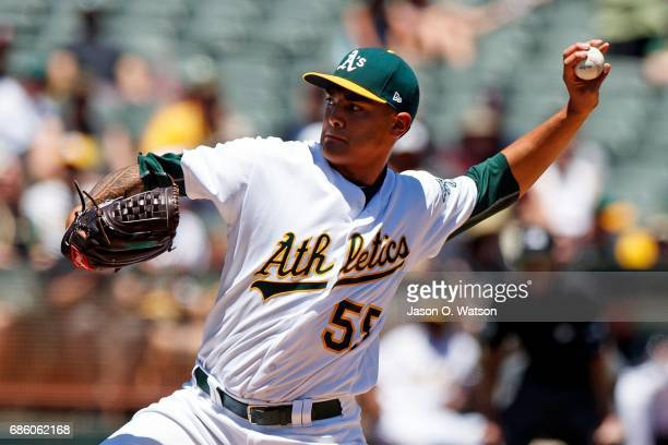 Sean Manaea of the Oakland Athletics pitches against the Boston Red Sox during the first inning at the Oakland Coliseum on May 20 2017 in Oakland...