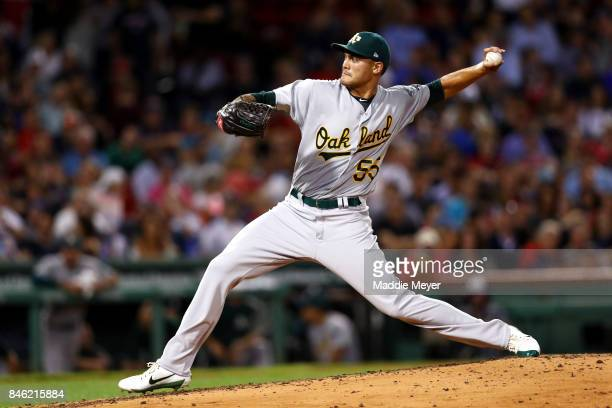Sean Manaea of the Oakland Athletics pitches against the Boston Red Sox during the third inning at Fenway Park on September 12 2017 in Boston...