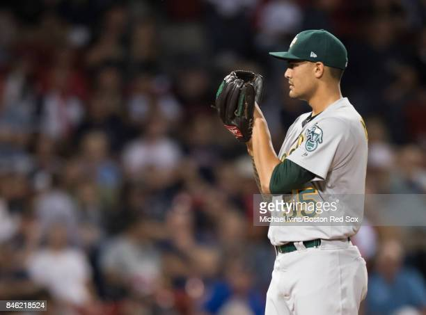 Sean Manaea of the Oakland Athletics pitches against the Boston Red Sox in the second inning at Fenway Park on September 12 2017 in Boston...