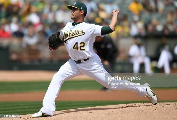 Sean Manaea of the Oakland Athletics pitches against the Houston Astros in the top of the first inning at Oakland Alameda Coliseum on April 15 2017...