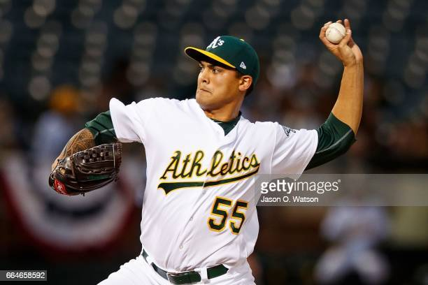 Sean Manaea of the Oakland Athletics pitches against the Los Angeles Angels of Anaheim during the second inning at the Oakland Coliseum on April 4...