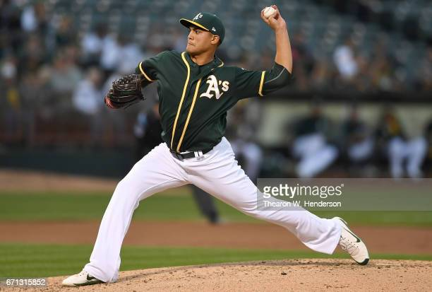 Sean Manaea of the Oakland Athletics pitches against the Seattle Mariners in the top of the second inning at Oakland Alameda Coliseum on April 21...