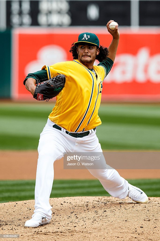 Sean Manaea #55 of the Oakland Athletics pitches against the Seattle Mariners during the second inning at the Oakland Coliseum on May 4, 2016 in Oakland, California.