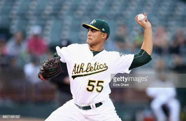 Sean Manaea of the Oakland Athletics pitches against the Toronto Blue Jays in the first inning at Oakland Alameda Coliseum on June 5 2017 in Oakland...