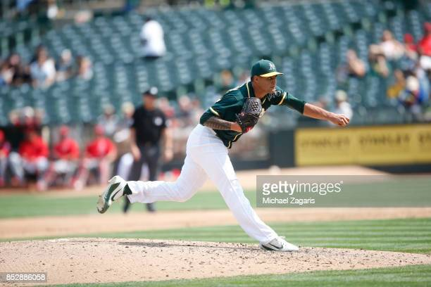 Sean Manaea of the Oakland Athletics pitches during the game against the Los Angeles Angels of Anaheim at the Oakland Alameda Coliseum on September 6...