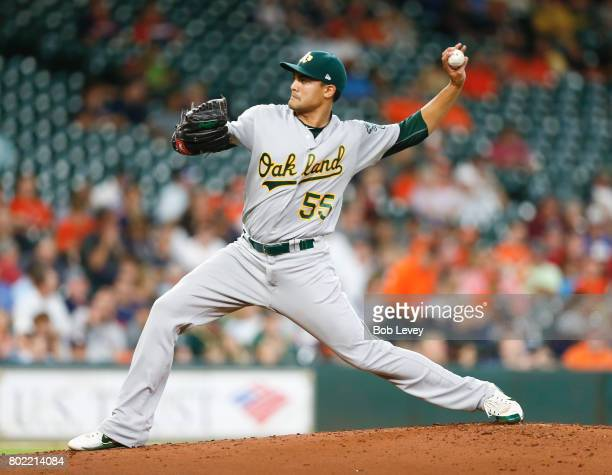 Sean Manaea of the Oakland Athletics pitches in the first inning against the Houston Astros at Minute Maid Park on June 27 2017 in Houston Texas