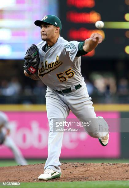 Sean Manaea of the Oakland Athletics pitches in the first inning against the Seattle Mariners at Safeco Field on July 7 2017 in Seattle Washington