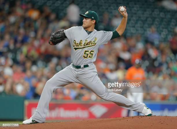 Sean Manaea of the Oakland Athletics pitches in the first inning against the Houston Astros at Minute Maid Park on August 18 2017 in Houston Texas
