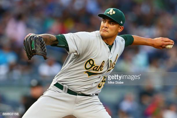 Sean Manaea of the Oakland Athletics pitches in the second inning against the New York Yankees at Yankee Stadium on May 26 2017 in the Bronx borough...