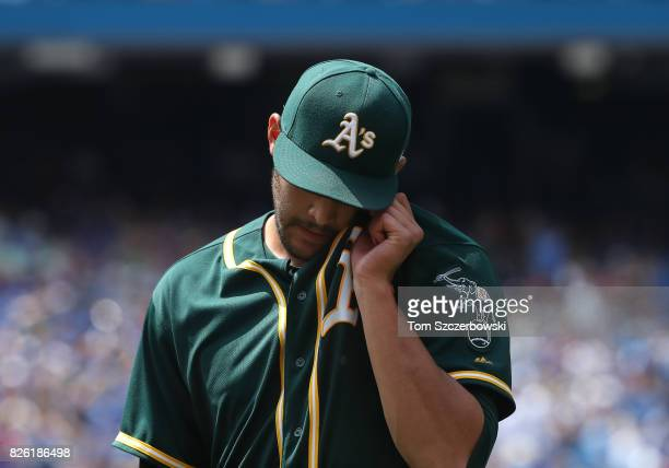 Sean Manaea of the Oakland Athletics walks off the mound after getting the last out of the fifth inning during MLB game action against the Toronto...