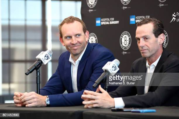 Sean Marks GM of the Brooklyn Nets introduces D'Angelo Russell and Timofey Mozgov during a press conference on June 26 2017 at HSS Training Center in...