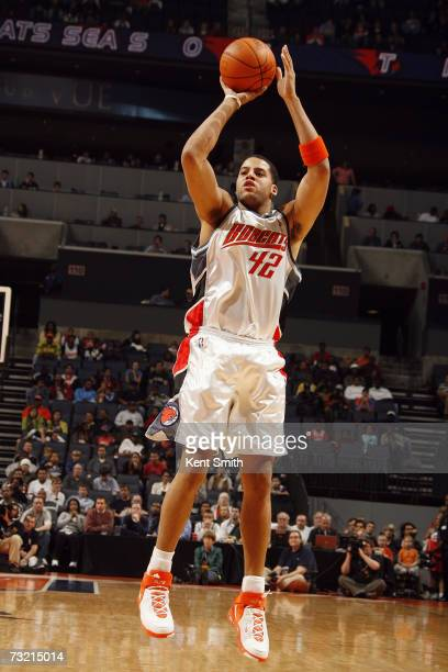 Sean May of the Charlotte Bobcats takes a jump shot against the Minnesota Timberwolves during the game at Charlotte Bobcats Arena on January 1 2007...