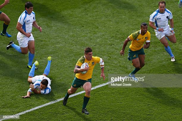 Sean McMahon of Australia break through during the 2015 Rugby World Cup Pool A match between Australia and Uruguay at Villa Park on September 27 2015...