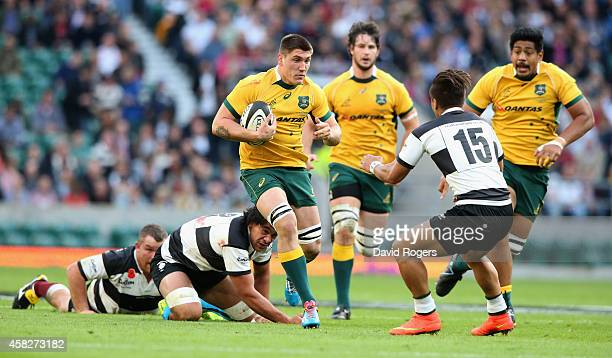 Sean McMahon of Australia breaks with the ball during the Killick Cup match between the Barbarians and Australian Wallabies at Twickenham Stadium on...