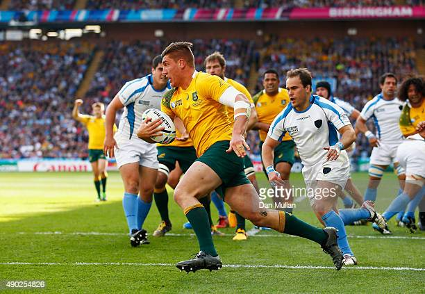 Sean McMahon of Australia runs in to score their first try during the 2015 Rugby World Cup Pool A match between Australia and Uruguay at Villa Park...