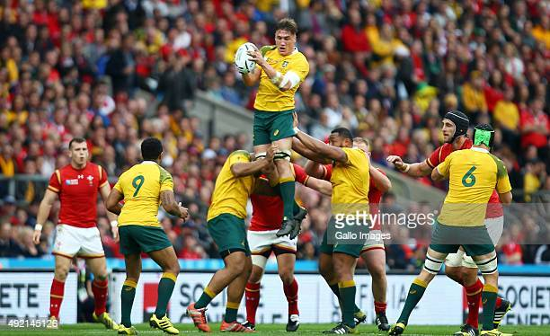 Sean McMahon of Australia taking clean ball off the top during the Rugby World Cup 2015 Pool A match between Australia and Wales at Twickenham...