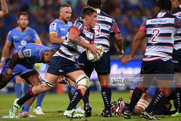 Sean McMahon of the Rebels makes a break during the round five Super Rugby match between the Force and the Rebels at nib Stadium on March 13 2015 in...
