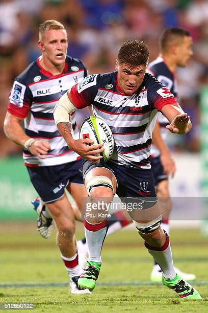 Sean McMahon of the Rebels runs the ball during the round one Super Rugby match between the Force and the Rebels at nib Stadium on February 27 2016...
