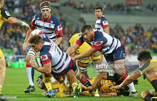 Sean McMahon of the Rebels runs with the ball during the round eight Super Rugby match between the Rebels and the Hurricanes at AAMI Park on April 15...