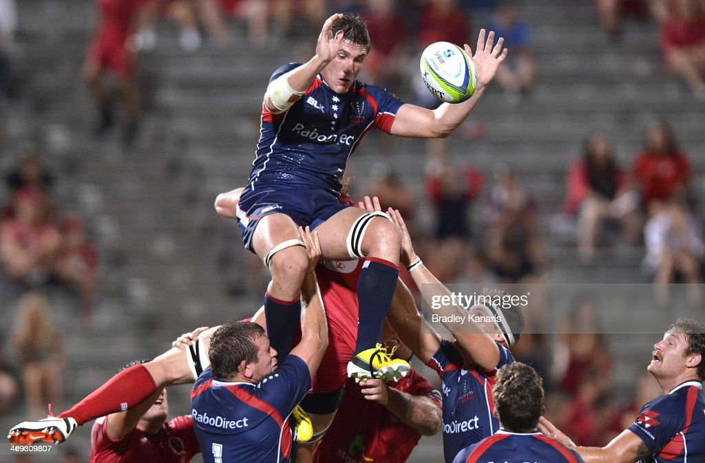 Sean McMahon of the Rebels wins at the lineout during the Super Rugby trial match between the Queensland Reds and the Melbourne Rebels at Ballymore Stadium on February 14, 2014 in Brisbane, Australia.