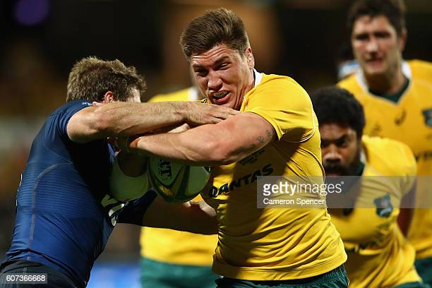 Sean McMahon of the Wallabies is tackled during the Rugby Championship match between the Australian Wallabies and Argentina at nib Stadium on...