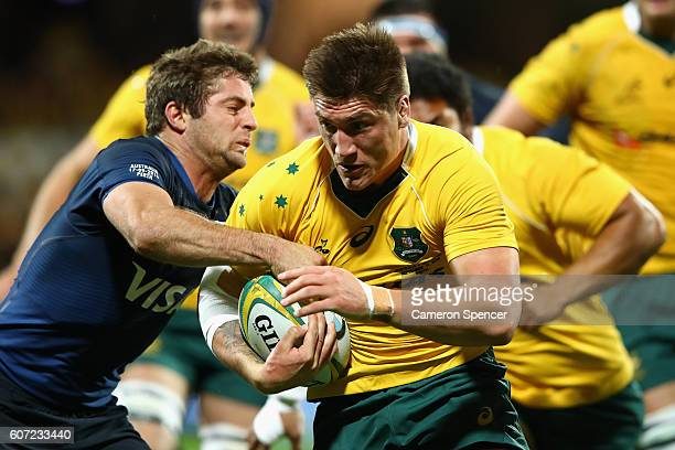 Sean McMahon of the Wallabies makes a break during the Rugby Championship match between the Australian Wallabies and Argentina at nib Stadium on...