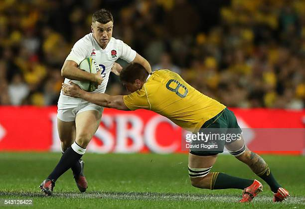 Sean McMahon of the Wallabies tackles George Ford during the International Test match between the Australian Wallabies and England at Allianz Stadium...