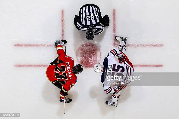 Sean Monahan of the Calgary Flames and Mark Scheifele of the Winnipeg Jets get set to take a second period faceoff at the MTS Centre on January 9...