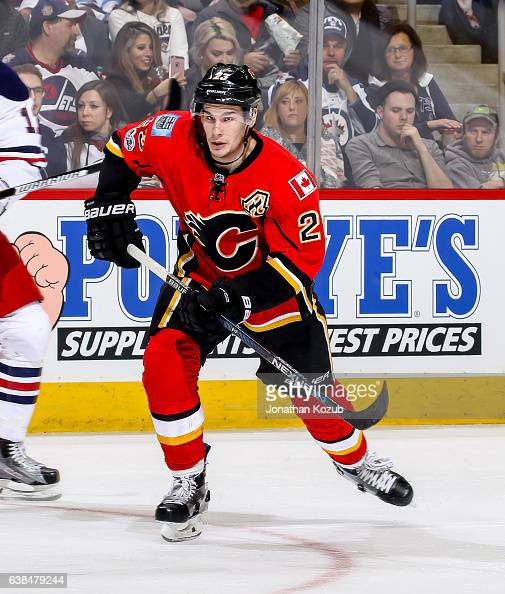 Sean Monahan of the Calgary Flames follows the play down the ice during second period action against the Winnipeg Jets at the MTS Centre on January 9...