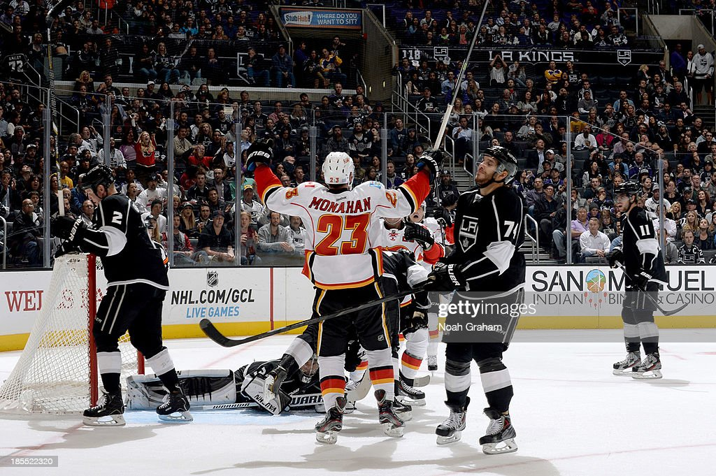 Sean Monahan #23 of the Calgary Flames reacts after scoring a goal against the Los Angeles Kings at Staples Center on October 21, 2013 in Los Angeles, California.