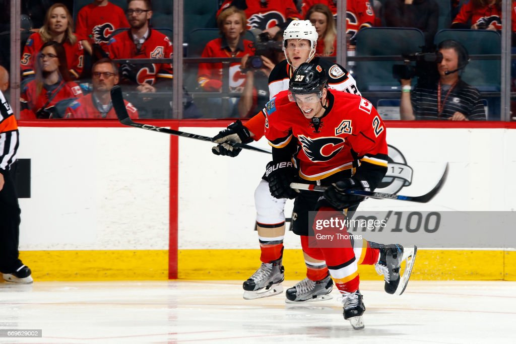 Sean Monahan #23 of the Calgary Flames skates against the Anaheim Ducks during Game One of the Western Conference First Round during the 2017 NHL Stanley Cup Playoffs on April 17, 2017 at the Scotiabank Saddledome in Calgary, Alberta, Canada.